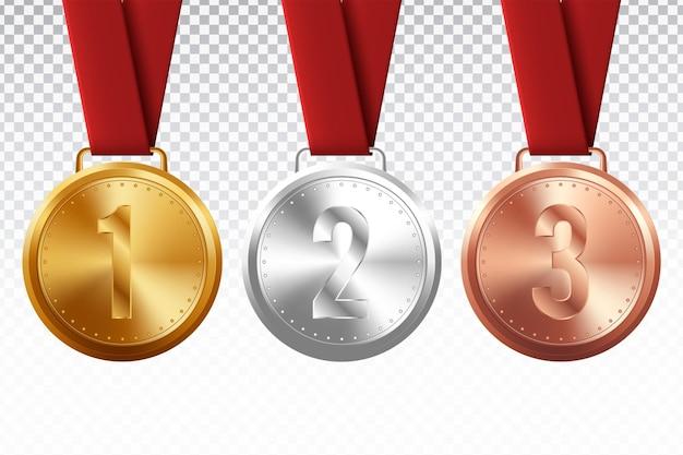 Спортивные медали. золотая серебряная бронзовая медаль с красной лентой