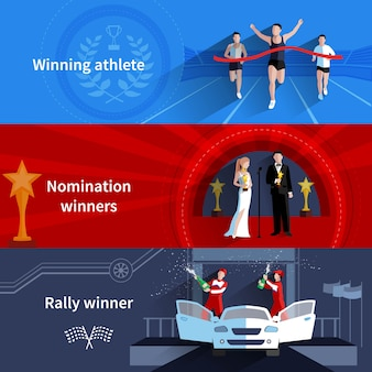 Sports and nomination winners horizontal banners set with rally and athletes