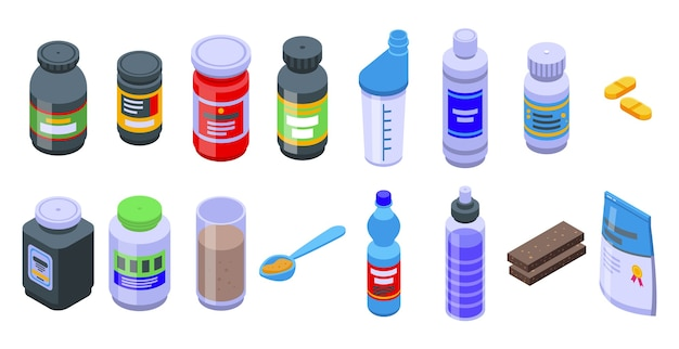 Набор иконок спортивного питания. изометрические набор иконок спортивного питания для интернета, изолированные на белом фоне