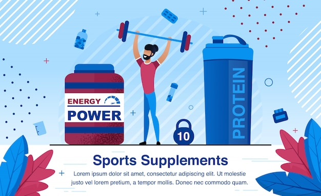 Sports nutrition supplements vector promo illustration