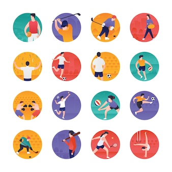 Sports and olympic flat icons pack