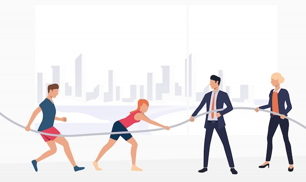 Sports people competing against business representatives banner