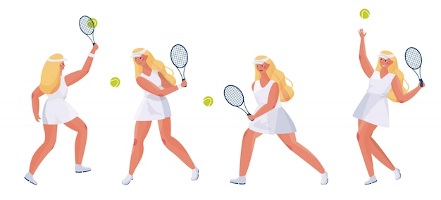Sports people cute girl set on white. young woman tennis player with a racket in her hand in different pose.