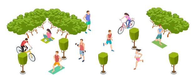 스포츠 사람들. 아이소 메트릭 남성 여성은 자연에 훈련합니다. 벡터 자전거 타는 사람, 운동 선수, 주자, 요가 캐릭터. 여자와 남자 활동, 캐릭터 건강 교육 그림