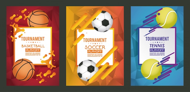 Sports poster with set balloons