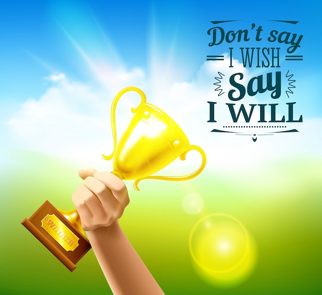 Sports quotes with victory cup and wish symbols realistic illustration