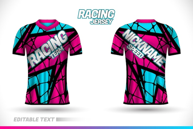 Sports racing jersey design. front and back t-shirt design templates