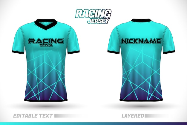 Sports racing jersey design front back t-shirt design templates