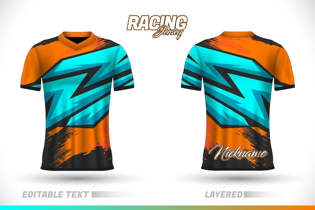 Sports racing jersey design, front back tshirt design. sports design for football racing cycling gaming jersey