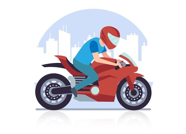 Спортивный гоночный мотоцикл. гонщик на фоне городского пейзажа мчится на высокой скорости на красном большом тяжелом мотоцикле мультяшный плоский стиль иллюстрации на белом фоне