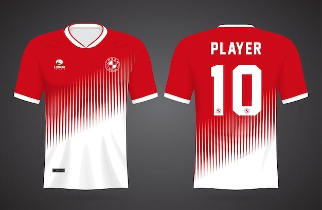 팀 유니폼과 축구 티셔츠를위한 스포츠 빨간색과 흰색 저지 템플릿