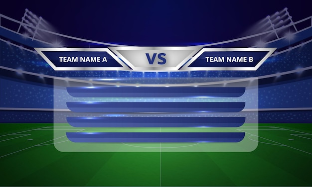 Sports scoreboard bars or lower third template with point table menubar