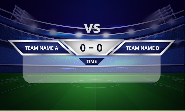 Sports scoreboard bars or lower third template with result display and time