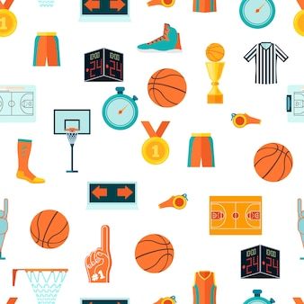 Sports seamless pattern with basketball icons