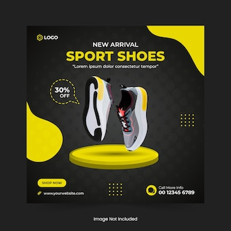 Sports shoes or fashion sale social media post banner design and web banner template
