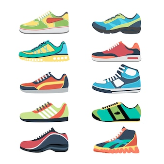 Sports shoes  set. fashion sportwear, everyday sneaker, footwear clothing