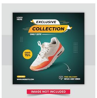 Спортивная обувь, баннер в социальных сетях и дизайн шаблона поста в instagram