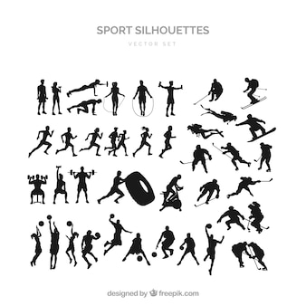 Sports silhouette set