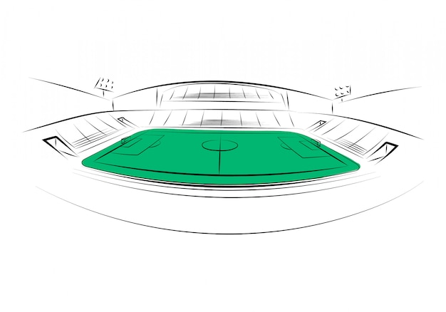 白い背景の上のスポーツスタジアム。手で書いた。ベクトルイラスト