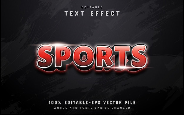 Sports text, red gradient text effect