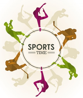 Sports time poster with athletes figures silhouettes