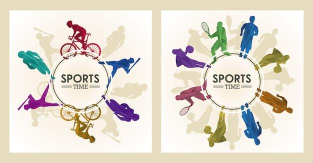 Плакат спортивного времени с фигурами спортсменов