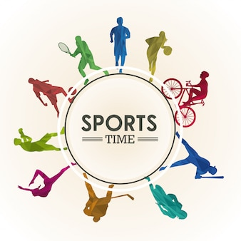 Sports time poster with athletes silhouettes