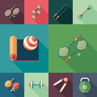 Sports time set of flat square icons with long shadows.