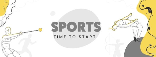 線画アスリートインアクションポーズ抽象的な背景でコンセプトを開始するスポーツの時間。