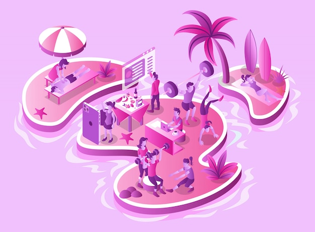 Sports training, exercises, practices, and health care and treatments on islands - isometric illustration
