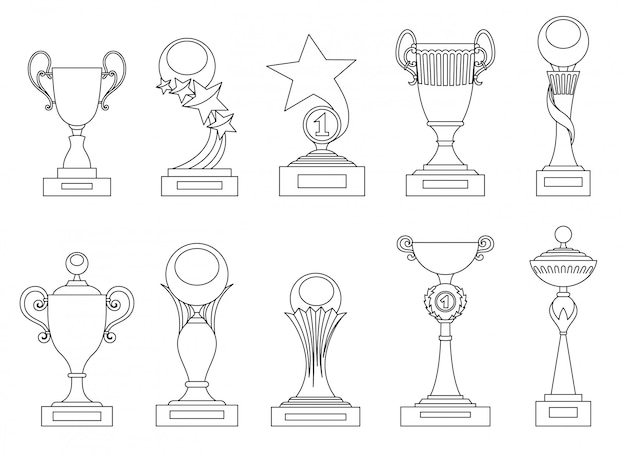 Sports trophies and awards silhouettes set for design