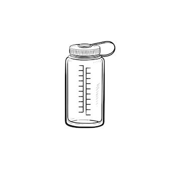 スポーツウォーターボトル手描きアウトライン落書きアイコン。プラスチック製の水容器、健康的な飲み物、リフレッシュの概念。白い背景の上の印刷、ウェブ、モバイル、インフォグラフィックのベクトルスケッチイラスト。