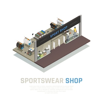 Sports wear shop isometric composition with outside view show case with mannequins clothing and shoes