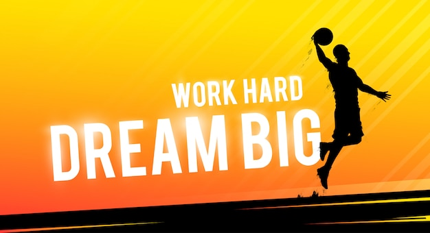 Sports web banner. motivational concept. basket player silhouette.