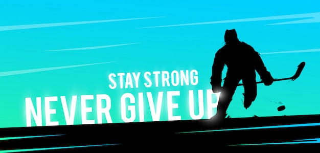Sports web banner. motivational concept. hockey player silhouette.