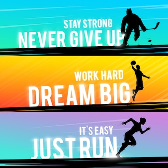 スポーツwebバナー。やる気を起こさせるコンセプト。ホッケー選手のシルエット。ランナーシルエット。走っている女性。バスケットボール選手のシルエット。アウトドアスポーツ。
