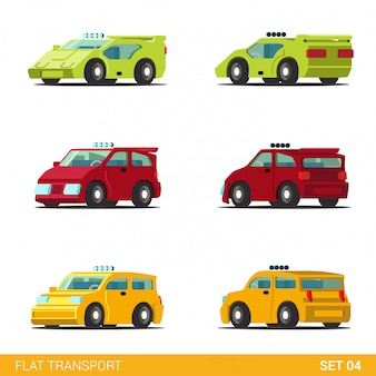 Sportscar supercar hatchback taxi cab car funny transport flat  set