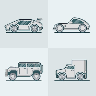 Sportscar supercar jeep suv van lineart