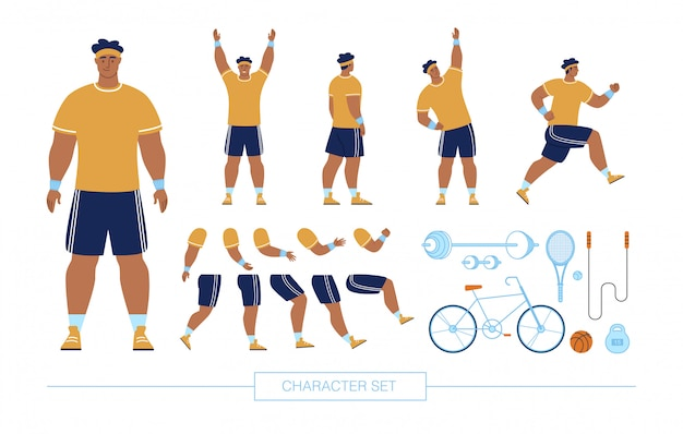 Sportsman character constructor flat  set