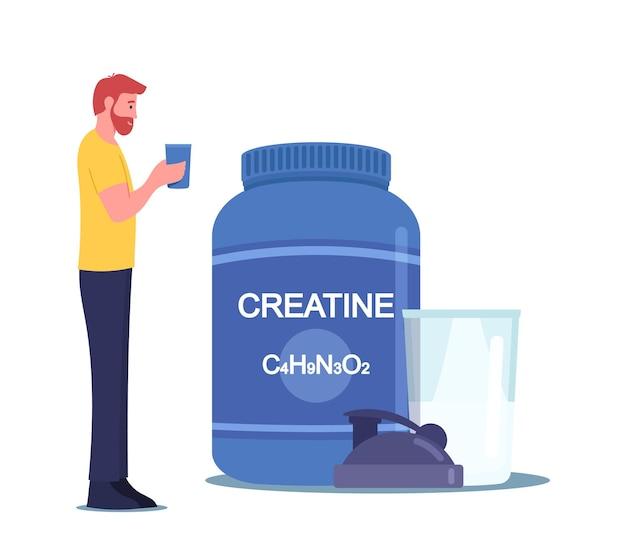 스포츠맨 캐릭터는 체육관에서 셰이커에서 크레아틴 칵테일을 마십니다. 낚시를 좋아하는 남자 건강한 라이프 스타일 프리미엄 벡터