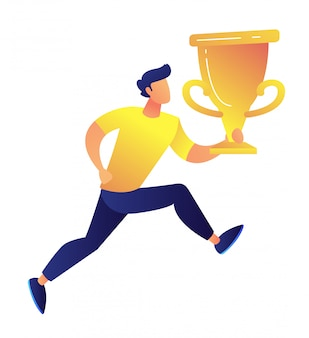 Sportsman holding big gold trophy cup award vector illustration.