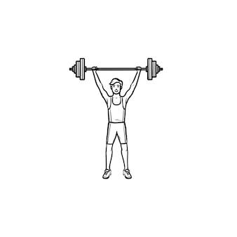 Спортсмен, поднимающий тяжелую штангу рисованной наброски каракули значок. мужской тяжелоатлет, концепция бодибилдинга. векторная иллюстрация эскиз для печати, интернета, мобильных устройств и инфографики на белом фоне.