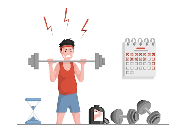 Sportsman lifting weights and eat protein for muscle growth illustration