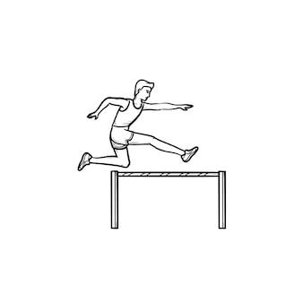 Спортсмен работает и прыгает через препятствия рисованной наброски каракули значок. препятствия и концепция бега с препятствиями. векторная иллюстрация эскиз для печати, интернета, мобильных устройств и инфографики на белом фоне.
