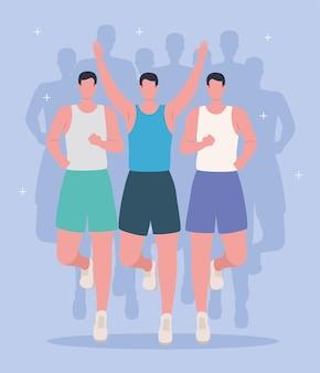 Sportsmen celebrating in marathon