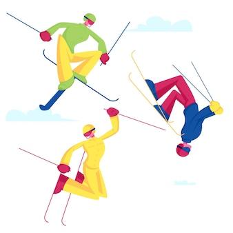 Sportsmen freestyle skiing jump. cartoon flat illustration