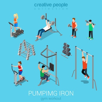 Sportsmen sportswomen running treadmill pumping iron gym workout exercise flat isometric set.