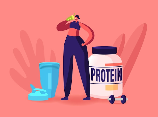 Sportswoman character drink protein cocktail from shaker in gym. sportive woman healthy lifestyle