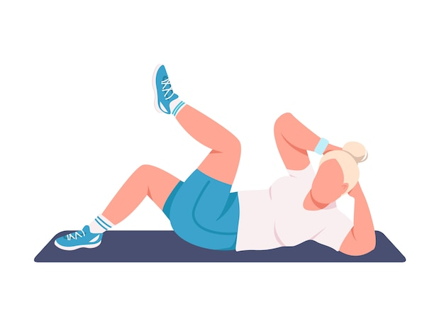 Sportswoman doing crunches flat color faceless character