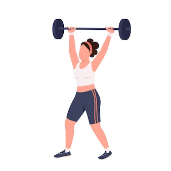 Sportswoman lifting barbell  color  faceless character